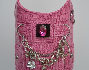 Sassy Pink Faux Leather Croc Print Harness