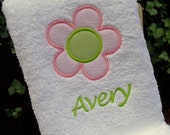 Monogrammed Kid's Bath Towel with Flower Applique -  perfect for the beach, bath or pool