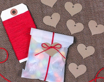 Valentine's Candy Bag Kit: Mini Glassine Bags, Red Bakers Twine & Heart Gift Tags, Goodie Bags, Treat Bags, Party Favor Bags, Gift Bags (12)