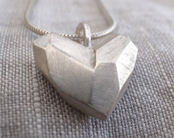 faceted heart pendant - sterling silver