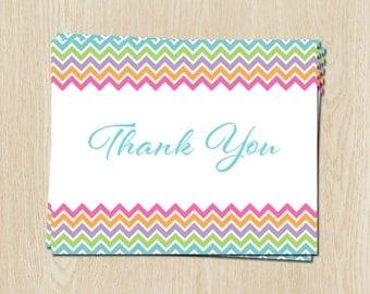 Rainbow Chevron Baby Shower, Birthday Thank You Cards, Pink, Purple, Stripes, Set of 24 Folding Notes, FREE Shipping, RBCHV, Rainbow Chevron