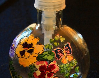 8.5oz Round Soap Dispenser-Pansies and Butterfly-Item 794