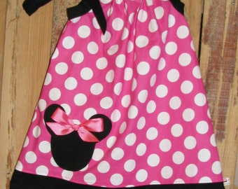 Disney Minnie Mouse Inspired Baby Toddler Dress - A-line Pillowcase Dress- Pink White Polka Dots - Great for Disney Trips and Birthdays