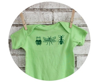 Bug Baby Onepiece, Hand Printed Infant Shirt, Dragonfly, Beetle, Ant, Screen-printed Short Sleeved, Key Lime Green, Little Critters, Boy