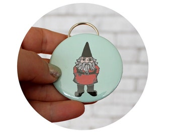 Garden Gnome Bottle Opener, Key Chain, Cute Keychain, Light Pastel Green, Mint and Red, Stocking Stuffer, Hand Made, Gardening, Party Favor