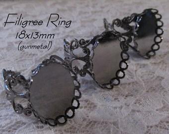 18x13mm - Filigree Ring - Gunmetal - Adjustable Band - 3 pcs : sku 12.03.14.16 - Y12