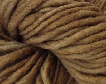 Bulky / Chunky Weight Hand Painted Wool Yarn Pencil Roving in Root Brown 60 yards Hand Dyed