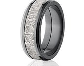8mm Beveled Meteorite Wedding Rings, Black Zirconium Wedding Bands: Meteorite-Ring-8FT-Z