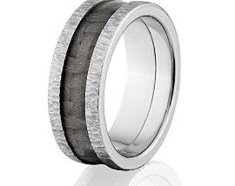 8mm Carbon Fiber Ring w/ Treebark Finish, Carbon Fiber Wedding bands, Carbon Fiber Rings, USA made: Carbon Fiber Ring 8mm TI TB