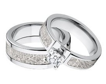 New His and Her Matching Meteorite Wedding Ring Set, Meteorite Rings: Met-Ring-6F14G1PrinPro & Met-Ring-8F