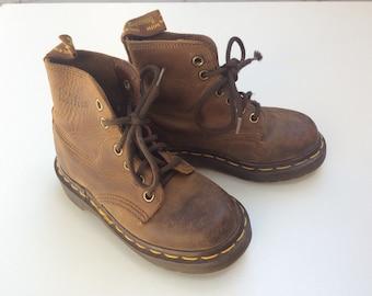 Vintage Kids Brown Leather Dr. Martens Boots- 12