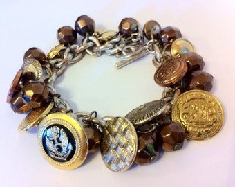 Vintage metal button charm bracelet - old bronze and gold metal buttons & beads