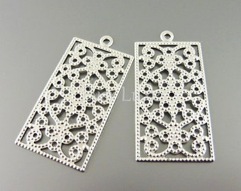 4 rectangle filigree charms, matte silver iron findings, filigree pendants, jewelry charms, craft supply 1627-MR (matte silver, 4 pieces)