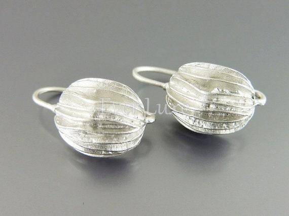 2 Matte silver earrings, layered lace ball hook earrings, brass sterling silver hook ear wires 1033-MR-HOOK (matte silver, 2 pieces)