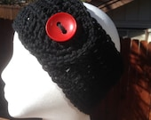 Black Headband Hand Crochet Ear Warmer with a Vintage Red Button