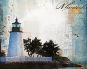 Sunset over Newport Harbor Light - paper print of Rhode Island lighthouse mixed media collage painting