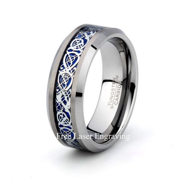 Mens Tungsten Carbide Wedding Band 8mm Polished Blue Dragon
