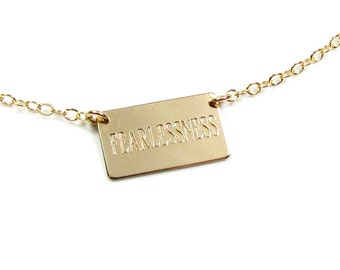 Personalized Nameplate Necklace, Small Rectangle Name Plate Necklace , Gold Filled or Sterling Silver, As seen on Mariska Hargitay and