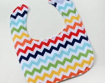 Chevron Baby Bib For Infant Boy Baby Shower Gift New Baby Reversible Flannel
