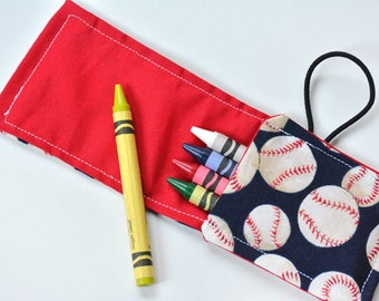 Birthday Party Favors Gift Idea, Crayon Roll Ups Holder, Crayon Rollup Wrap Baseball, Toddler, Travel Pouch Toy
