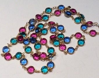 Swarovski Necklace Bezel Crystals Multicolors Blue Teal Fuchsia