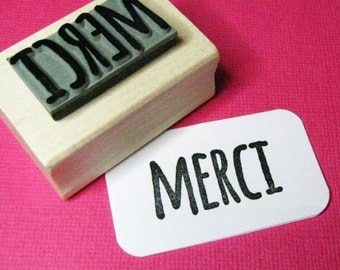 Merci Sentiment Text Rubber Stamp - Thank You Stamper - French Stationery - France - French Phrase - Thanks Stamper - Thank You Card