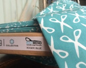 Organic Scissors Fabric Half Yard Blue Scissors Sewing Fabric Roger   White Mad Mend Cloud9 Fabrics Bright Bold Retro Vintage Print