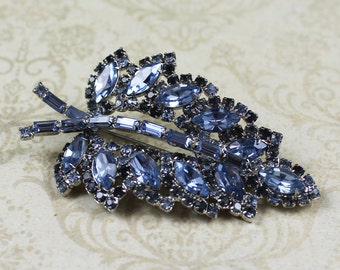 Vintage Two Tone Blue Rhinestone Silver Leaf Brooch