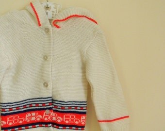 Vintage Toddler's Hooded Sweater with Vehicle Print - Size 12 or 18 Months