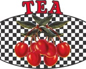 Retro 1950's Cherries Checkered Kitchen Canister Laser Printed Decals