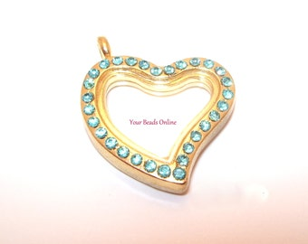 Stainless Steel Gold Floating Locket Blue Heart with Rhinestones 32mm - Living Memory or Origami Owl Locket