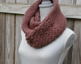 Infinity Scarf - Crochet Circle Scarf - Tube Scarf in Two Textured Taupe Brown
