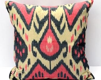 15x15 ikat cushion cover, red ikat pillow, rred cream pillow, ikat pillow