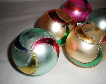 Vintage Glass Christmas Poland Ornaments - Set of 5