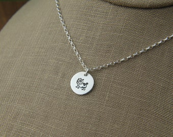 Hand stamped cow charm necklace in sterling silver, sterling silver cow, dairy cow, animal, cow pendant, farm animal, farming, livestock