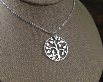 Large sterling silver tree of life pendant and sterling silver necklace, tree necklace, family tree, large pendant, woodland, nature jewelry