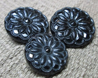 3 Black Glass Floral Buttons