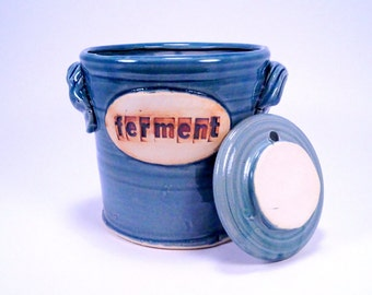 fermentation & pickling crock . ceramic pottery jar  for sauerkraut or kimchi in blueberry
