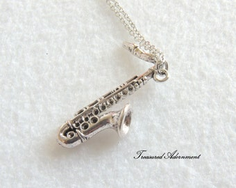 READY to SHIP, Saxophone Necklace, Silver tone,  Valentine's day gift, Thank you gift for Teacher, Sax Necklace, Music Instrument Necklace