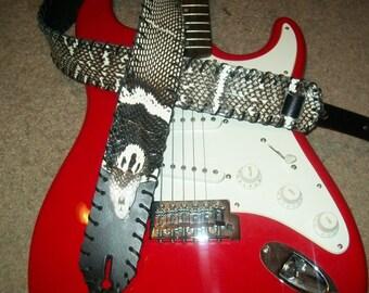 "Monocled  Cobra Snake Skin Guitar Strap 2"" Wide"