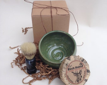 Men's Shaving Gift Set - Handmade Pottery and Soap with Brush and Gift Box - Gift for Father's Day