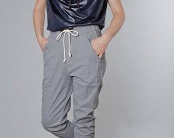 Grey tying stone washed denim cotton baggy pants