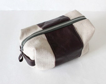 Dopp bag Toiletry case reclaimed woven beige fabric with brown leather