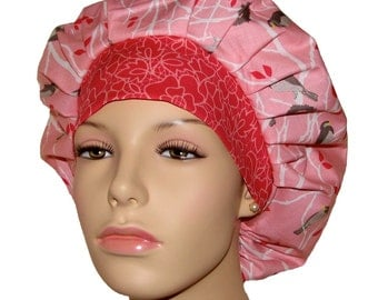 Bouffant Surgical Scrub Hat - The Cottage Garden Birds in Pinks