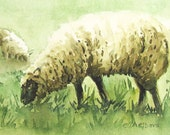 Sheep Painting -  4 x 6 inches Original Fine Art Watercolor