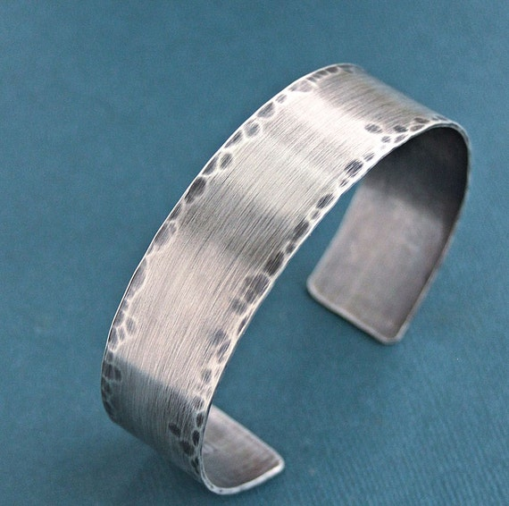 Mens Rustic Cuff Bracelet Sterling Silver By Lynntodddesigns