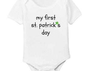 Baby's First St. Patrick's Day Shamrock Organic Cotton Bodysuit