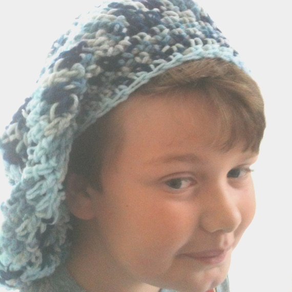 Blue Tam - Dark Blue - Grey - Ice Blue Stripes - Super Slouchy - Crochet - Big