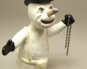 Mature Listing Clockwork Snowman Dark Art Clay Sculpture