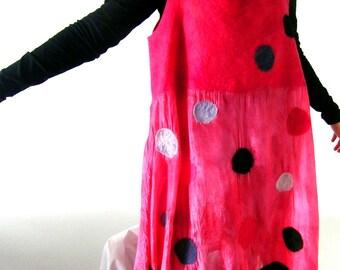 Nuno Felted Dress Tunic,  Long Tunic, Sleeveless,  A line, Red Gray Black, Plus Size, XL